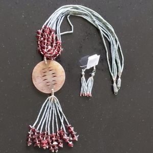 Handmade Jade and Garnet Necklace/ Earrings set